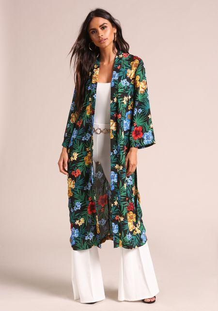 Green Tropical Floral Duster Kimono