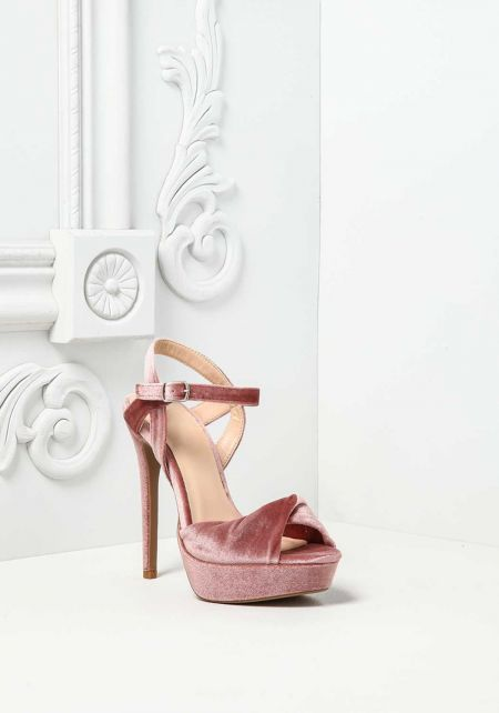 Blush Velvet Twisted Ankle Strap Heels