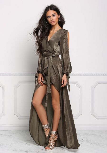 Olive Satin Arm Slit Faux Wrap Maxi Romper