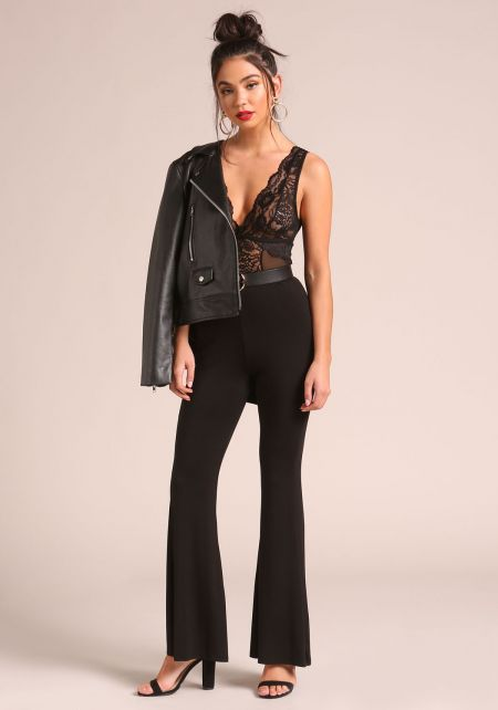 Black Bell Bottom High Rise Pants