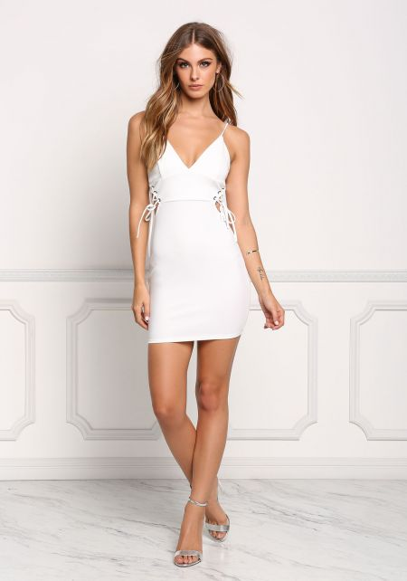 Ivory Side Lace Up Plunge Bodycon Dress