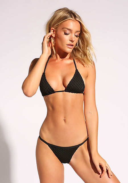 Black Mesh Net Low Rise Swimsuit Bikini Bottoms