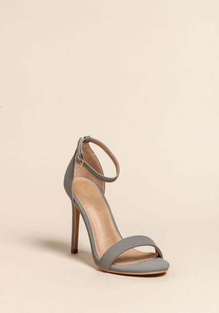 Grey Ankle Strap Stiletto Heels