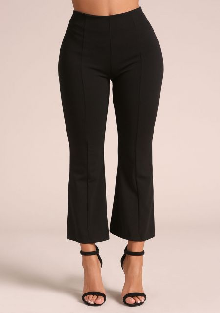 Black Cropped Bell Bottom Dress Pants