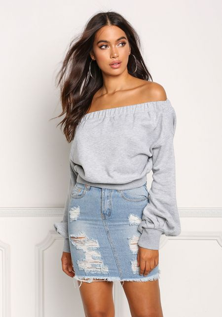 Heather Grey Off Shoulder Puff Sleeve Sweater Top