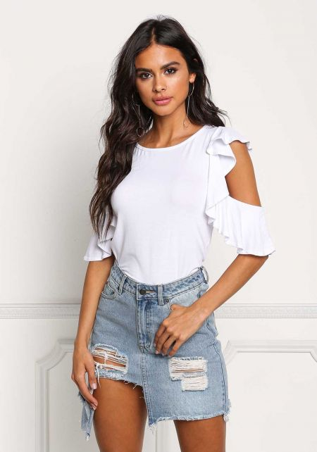 White Cold Shoulder Ruffle Knit Top