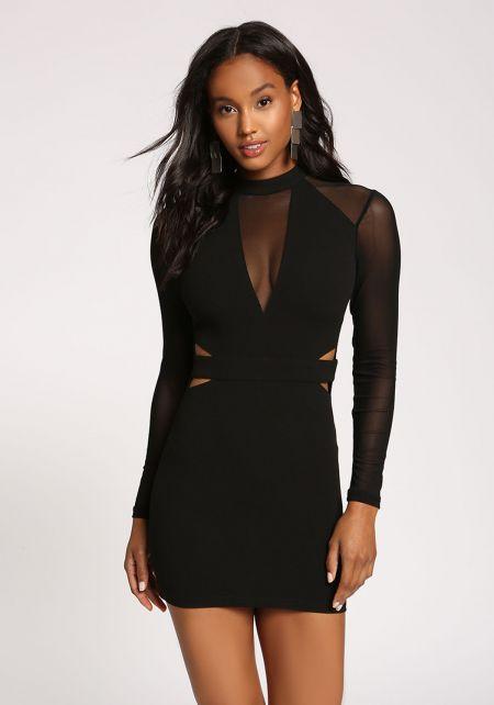 Black Mesh Panel Cut Out Bodycon Dress