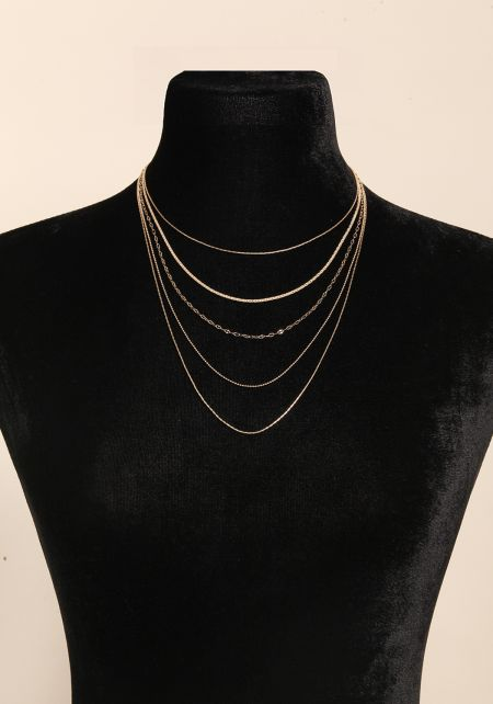 Gold Thin Chain Layered Necklace