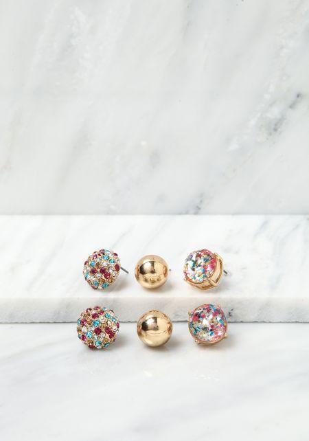 Gunmetal Stud Assorted Earrings