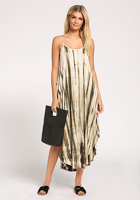 Olive Tie Dye Pocket Maxi Dress