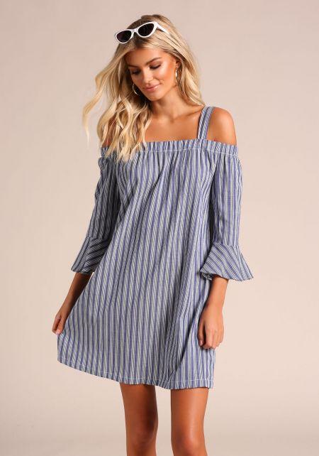 Blue Pinstripe Cold Shoulder Shift Dress
