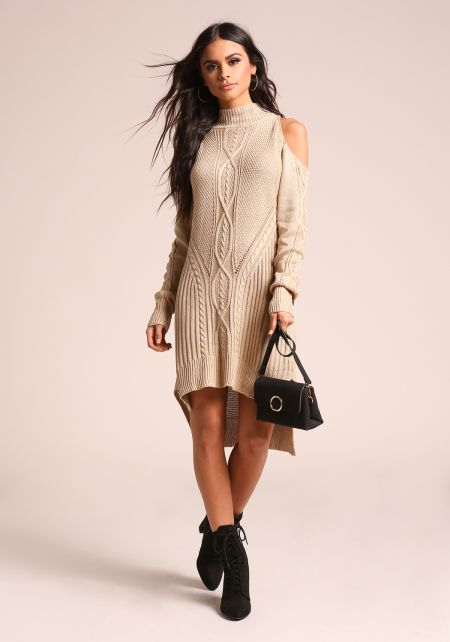 Beige Cold Shoulder Hi-Lo Sweater Knit Dress