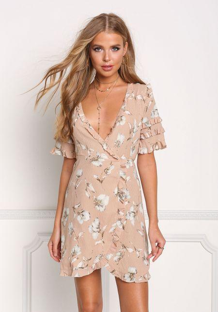 Mauve Floral Ruffle Wrap Dress