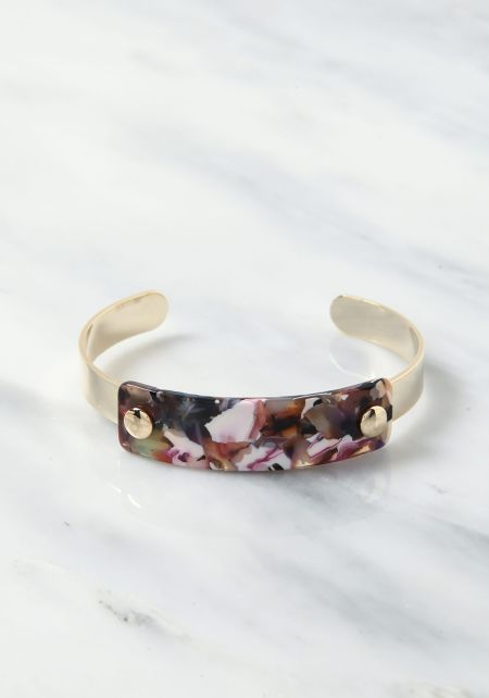 Pink Thick Resin Cuff Bracelet