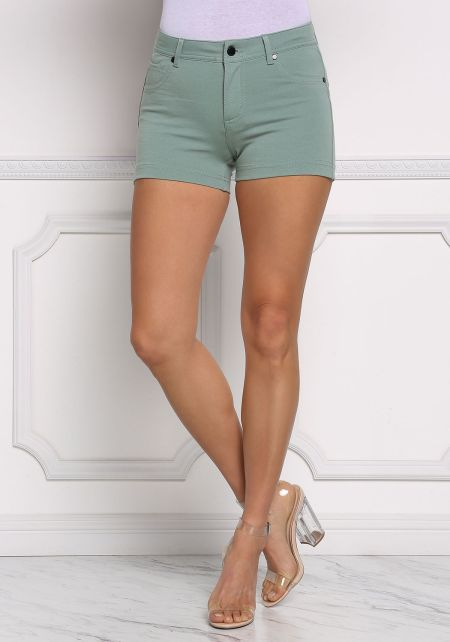 Dusty Sage Mid Rise Solid Shorts