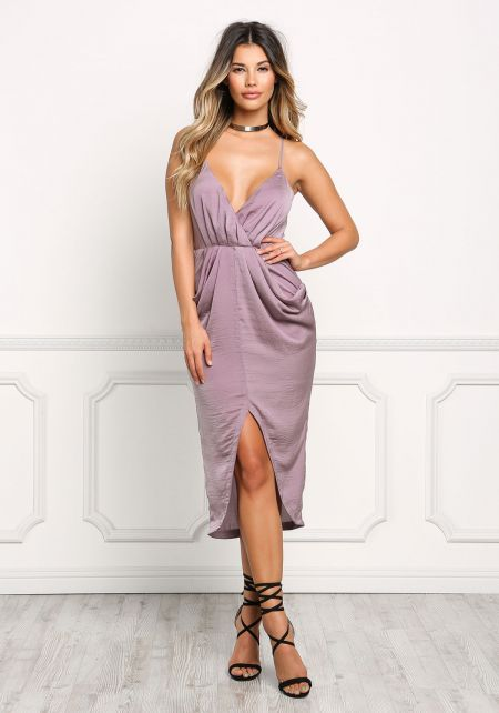 Mauve Draped & Pleated Slit Midi Dress