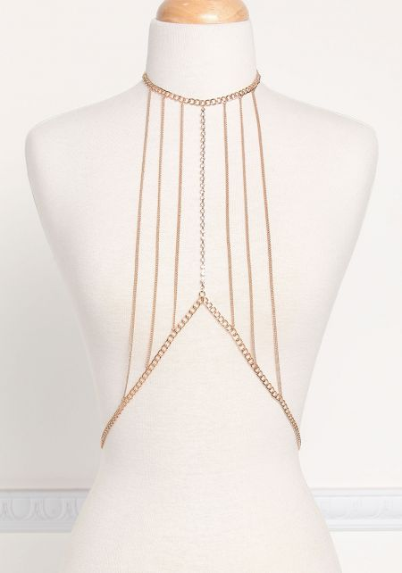 Gold Pointed Thin Chain Bralette
