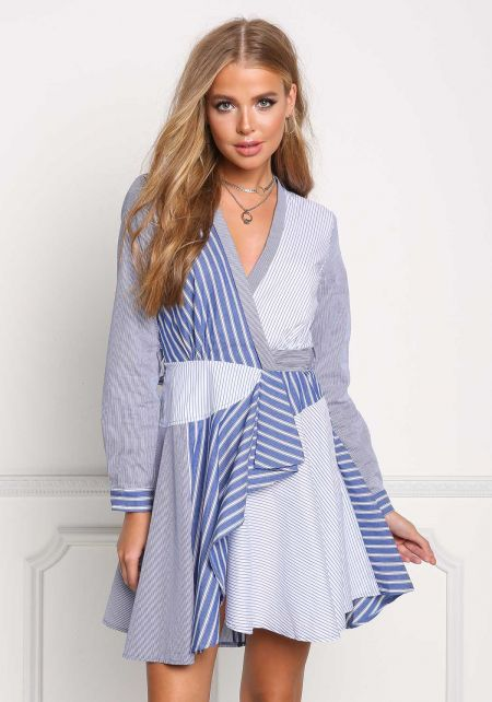 Blue Pinstripe Patch Flared Wrap Dress