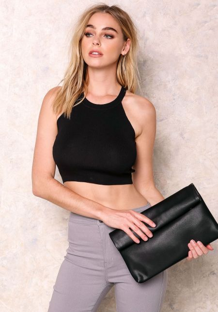 Black Ribbed Crew Neck Crop Top
