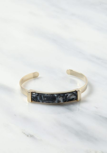 Black Thin Resin Cuff Bracelet