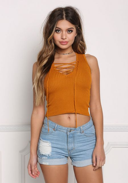 Mustard Lace Up Ribbed Knit Crop Top