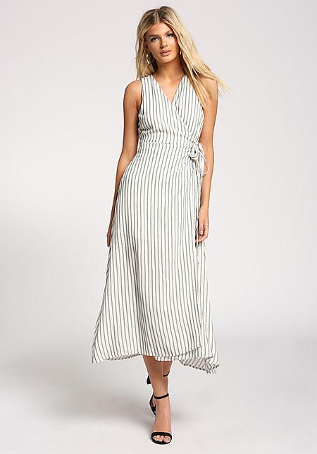 White Tie Front Slit Wrap Maxi Dress