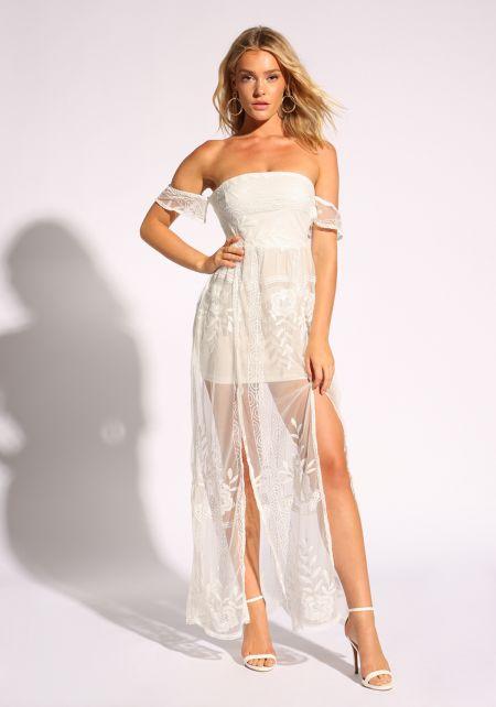 White Embroidered Tulle Slit Maxi Dress
