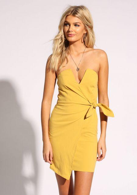 Mustard Plunge Faux Wrap Bodycon Dress