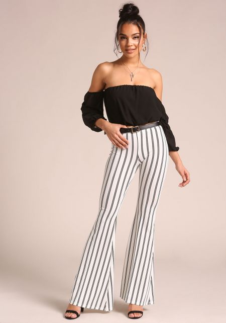 White Bell Bottom Pinstripe Pants