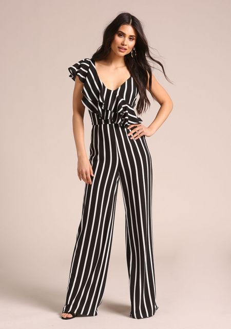 Black Pinstripe Ruffle One Shoulder Jumpsuit