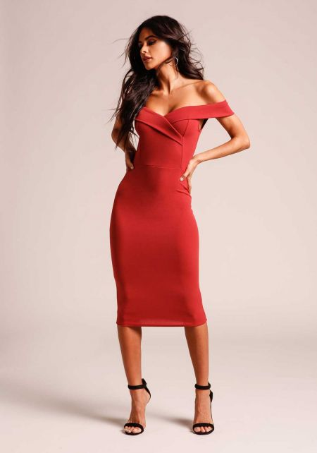 Rust Off Shoulder Bodycon Dress