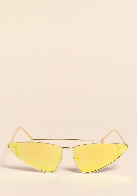 Yellow Pointed Top Bar Sunglasses