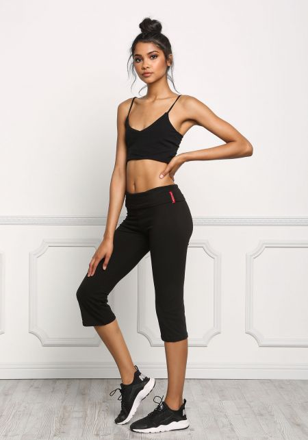 Black Yoga Stretch Capri Pants