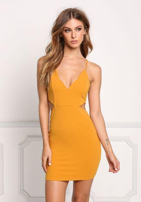 Mustard Side Cut Out Cross Strap Bodycon Dress