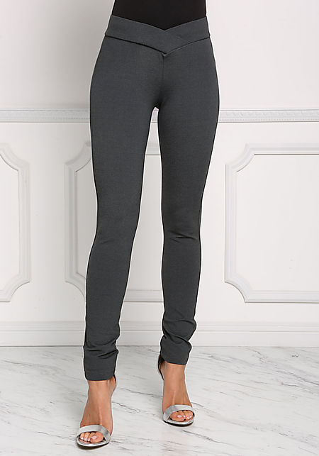 Charcoal Mid Rise Pointed Pants