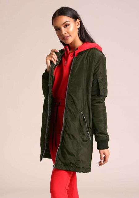 Dark Olive Longlined Windbreaker Bomber Jacket