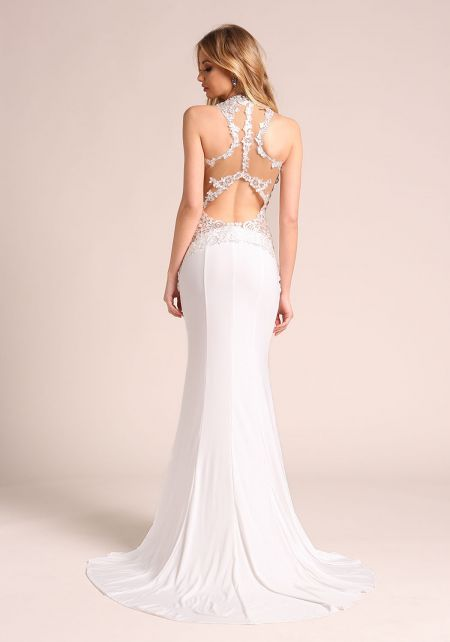 Ivory Embroidered Back Cut Out Sleek Gown