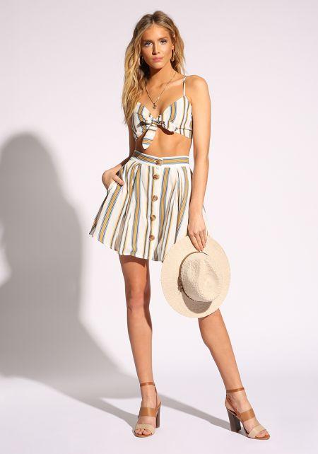Yellow Pinstripe Button Down Skirt