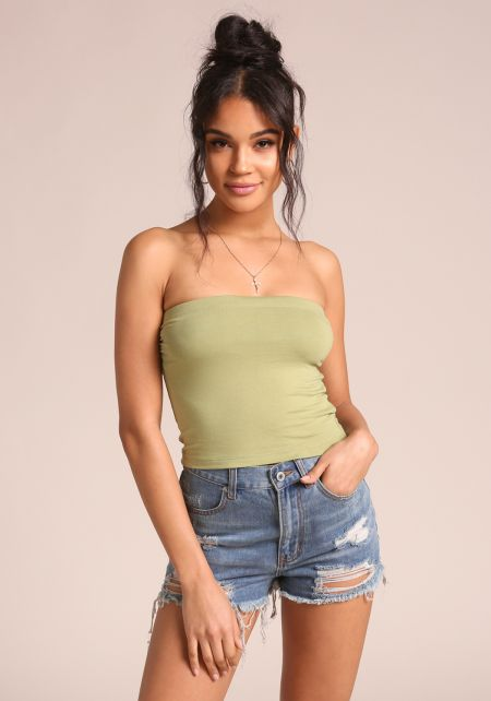 Sage Jersey Knit Tube Top