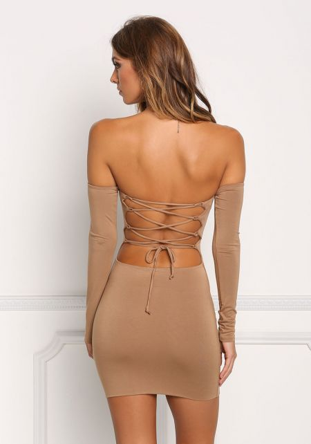 Mocha Back Lace Up Bodycon Dress