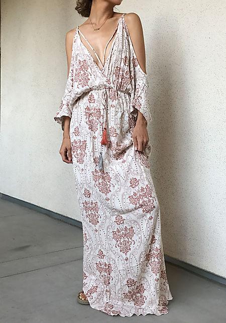 Mauve Brocade Crepe Cold Shoulder Maxi Dress