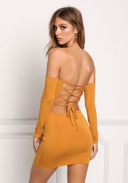 Mustard Back Lace Up Bodycon Dress