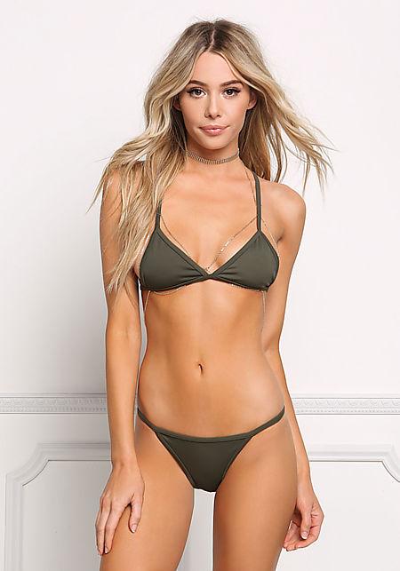 Olive Back Cross Strap Swimsuit Bikini Top