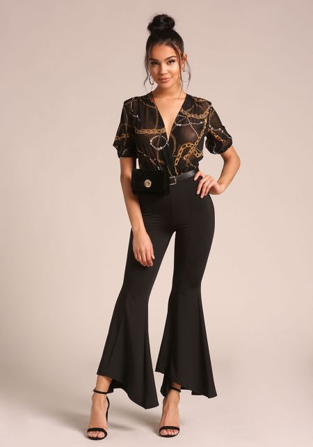 Black High Rise Bell Bottom Pants
