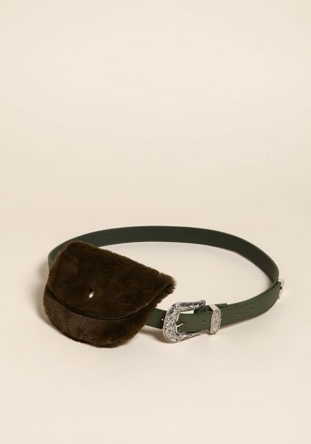 Olive Leatherette Faux Fur Fanny Belt
