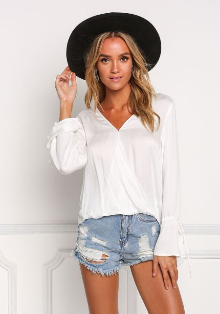 Off White Surplice Bell Sleeve Blouse