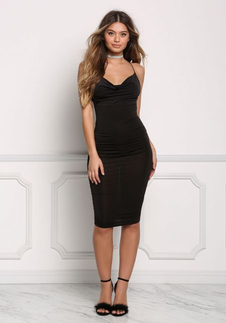 Black X Strap Sleek Bodycon Dress