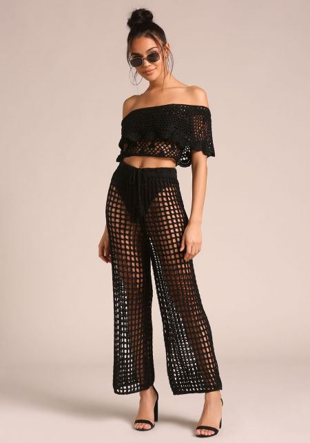Black Crochet High Rise Pants