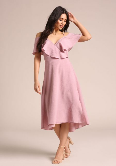 Dusty Rose Ruffle Wrap Midi Dress