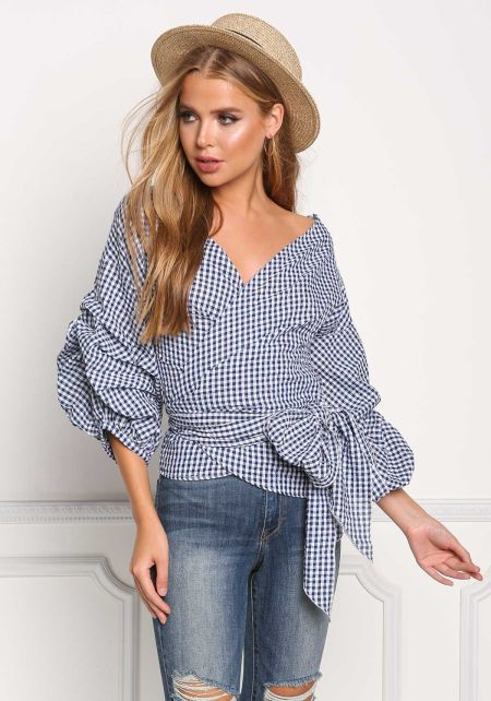 Navy Gingham Ruched Sleeve Tied Blouse